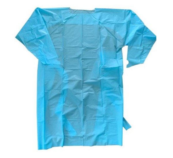 Over-the-Head Protective Procedure Gown - One Size Fits Most, Blue, Non-Sterile, AAMI Level 2 Disposable