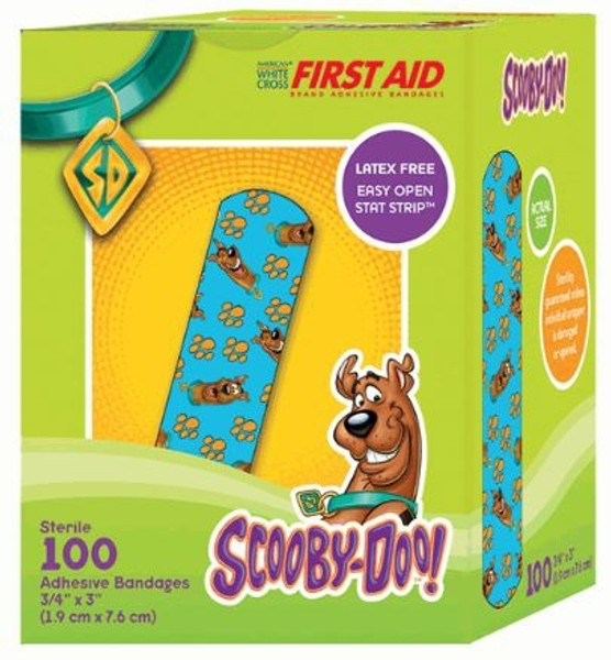 Adhesive Strip American White Cross First Aid Plastic Rectangle Kid Design (Scooby Doo) Sterile