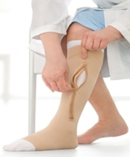 Compression Stocking and Liner JOBST UlcerCARE Zippered Knee High Beige