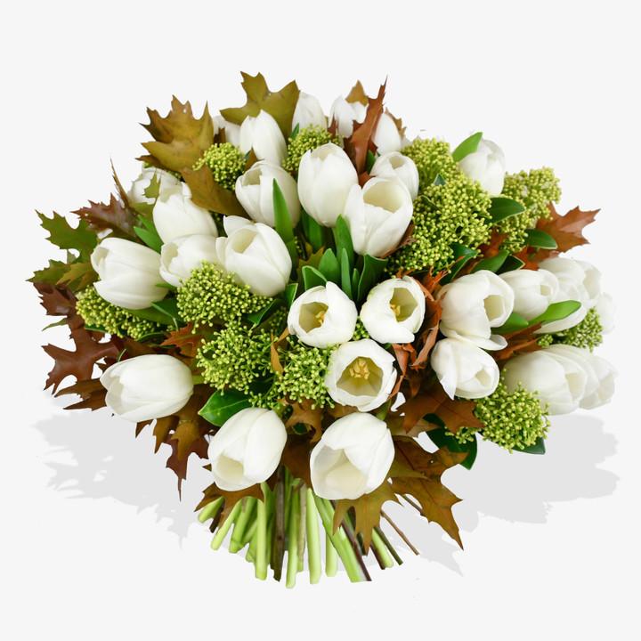 White Tulips & Skimmia