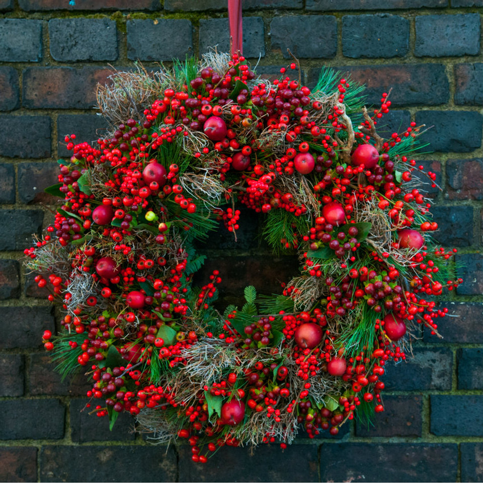Red Berry Christmas Door Wreath Moyses Stevens