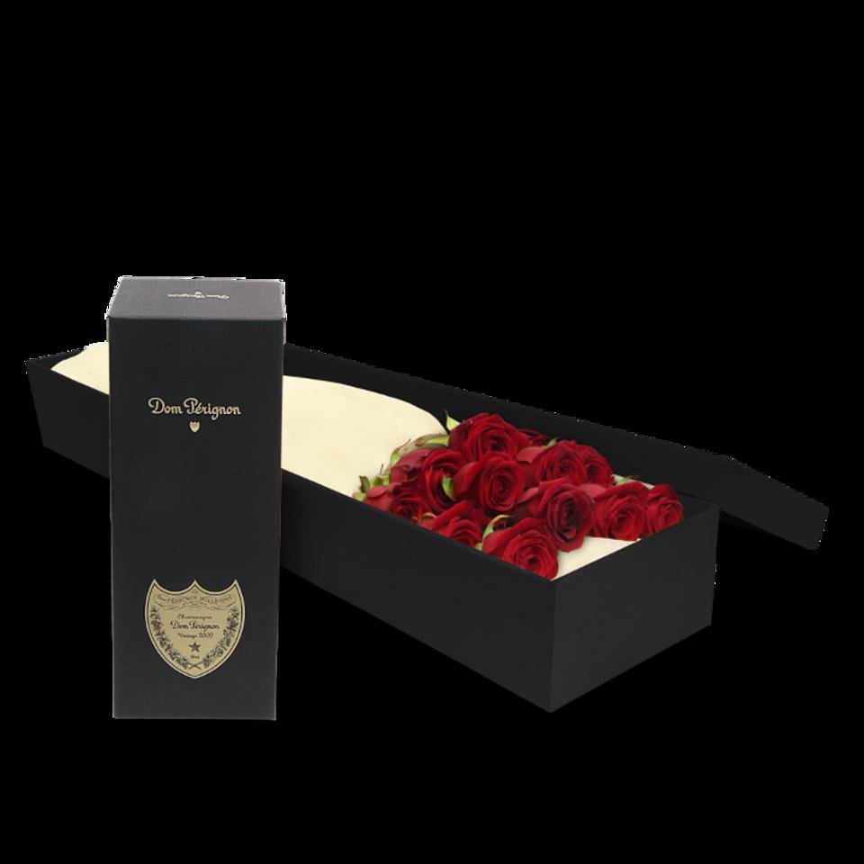 12 Red Roses & Dom Perignon