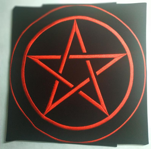 Pentakle Embroidered Tarot Cloth - Red