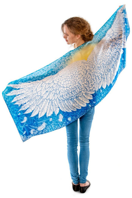 Wings of an Angel Scarf -  Blue Viscose