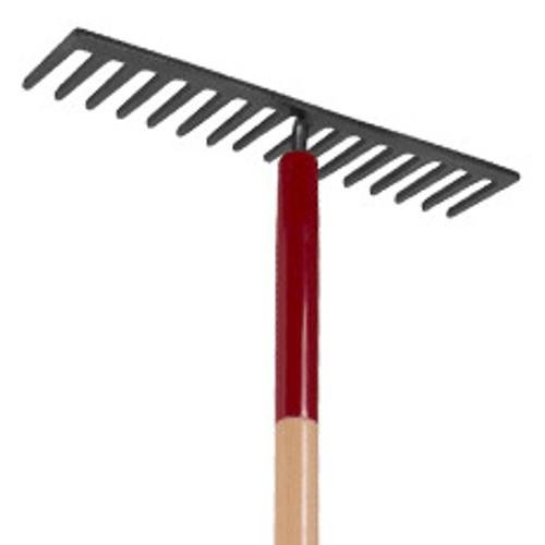 Level rake, 16 steel tines, wood handle