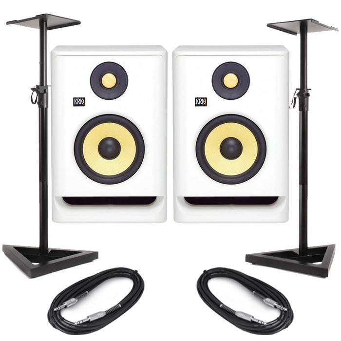 KRK Rokit RP5 G4 White Noise (Pair) With Stands & Cables
