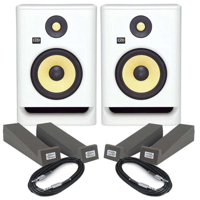 KRK Rokit RP7 G4 White Noise (Pair) With Isolation Pads & Cables