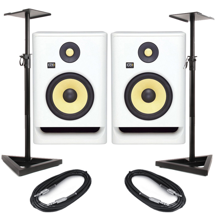 KRK Rokit RP7 G4 White Noise (Pair) With Stands & Cables