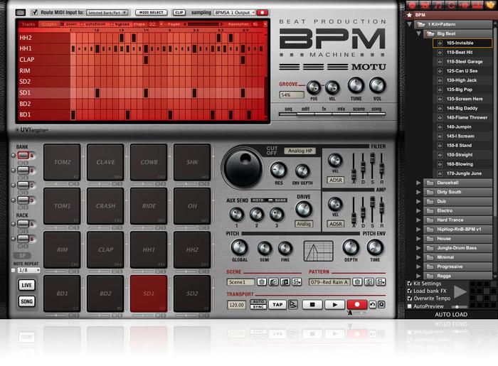 MOTU BPM VST Virtual Drum Machine Software