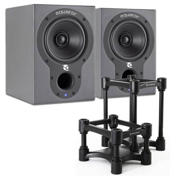 Equator Audio D5 Studio Monitors (Pair) plus IsoAcoustics L8R155 Speaker Stands