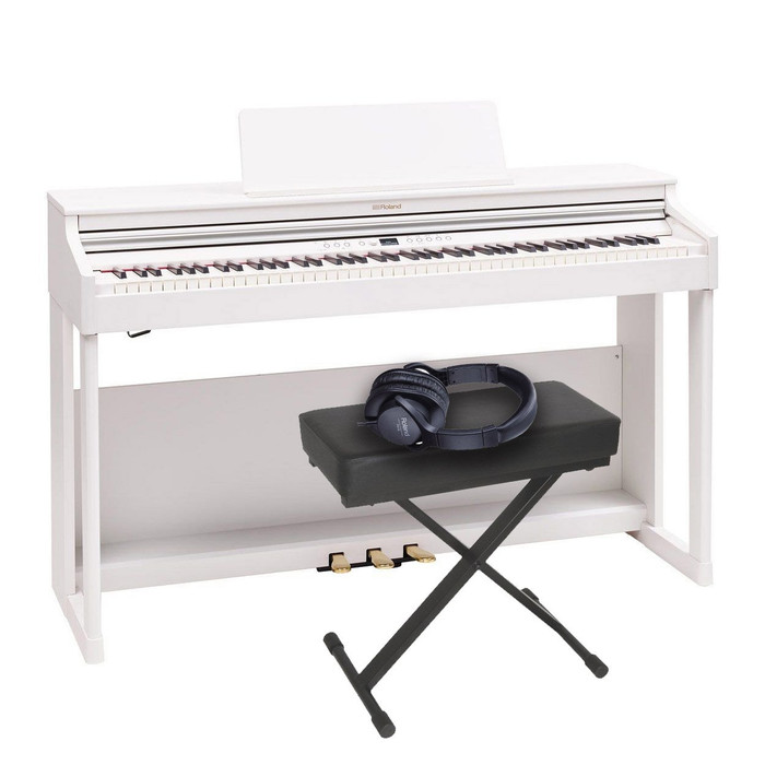Roland RP701 (White) with Bench and Headphones
