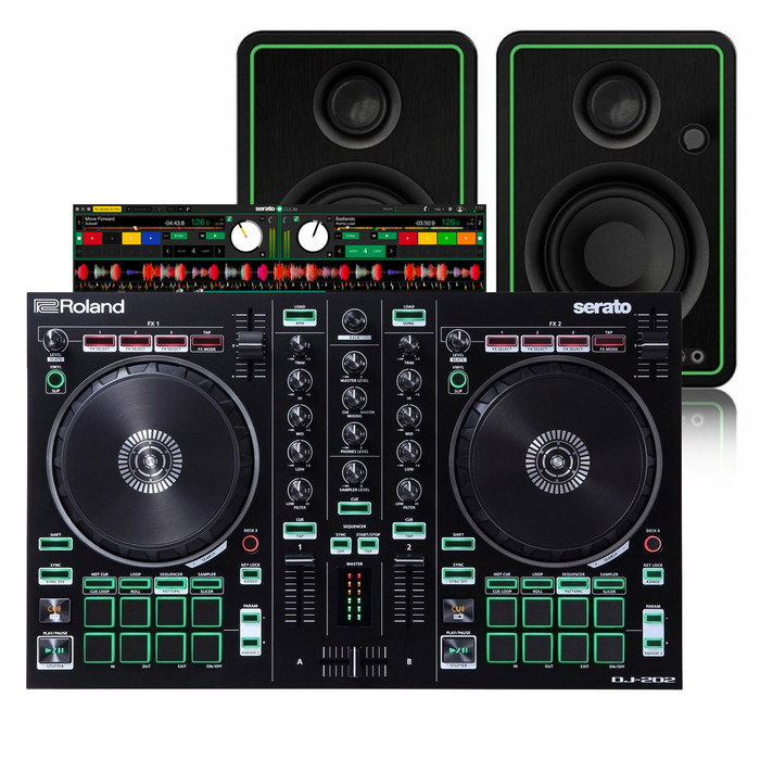 Roland DJ-202 with Serato DJ Lite and Mackie CR3-X (Pair)