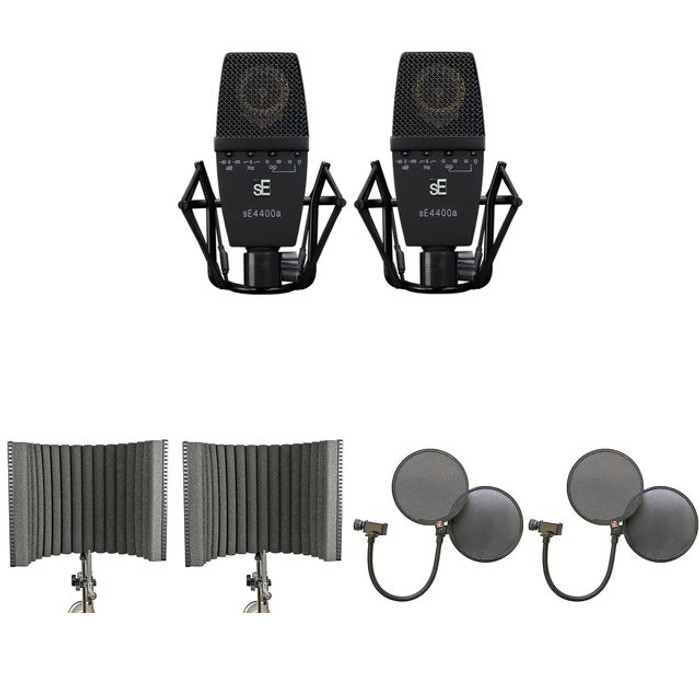 sE Electronics sE4400A Matched Pair + 2 x Project Studio Reflexion Filters + 2 x Dual Pop Pro