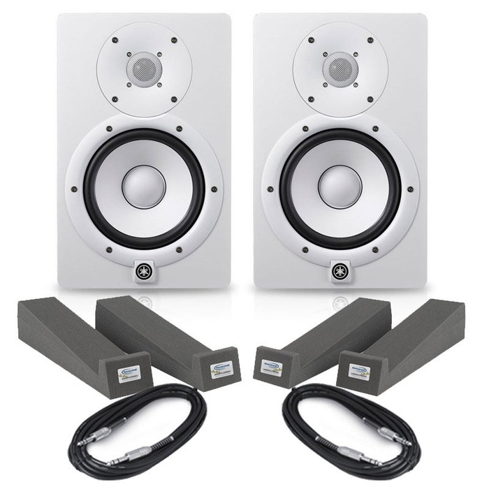 Yamaha HS7 White (Pair) With Isolation Pads & Cables
