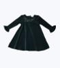 Holiday Green Velour Dress -Swirls & Stars, Toddler Girls