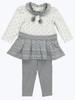 Gray Pom-Pom Tunic & Leggings Set, Baby Girls
