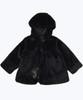 Black Faux Fur Hooded Coat, Toddler Girls