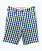 Blue Green Plaid Longboard Shorts, Big Boys