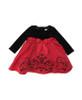 Red Satin Flock Black Velvet Bodice Dress, Baby Girls