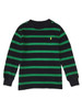 Black and Green Striped Thermal Shirt, Little Boys