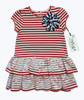 Red White Stripes & Lace Dress, Toddler Girls
