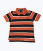 Orange Navy Striped Pique Polo Shirt, Baby Boys
