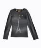 Black Striped Eiffel Tower Shirt, Big Girls