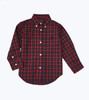 Navy Red Holiday Button Down Shirt, Toddler Boys
