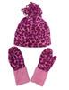 Animal Print Fleece Hat And Mitten Set, Little Girls