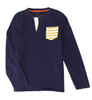 Navy Yellow Stripe Pocket Shirt, Big Boys