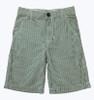 Green and White Stripe Seersucker Shorts, Little Boys