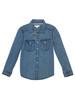 Chambray Roll-Sleeve Shirt, Little Girls