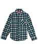 Blue Plaid Flannel Button-Up Shirt, Little Girls