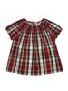 Holiday Smocked Red Plaid Silk Blouse, Toddler Girls