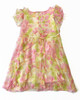 Pastel Roses Silk Ruffle Dress, Little Girls