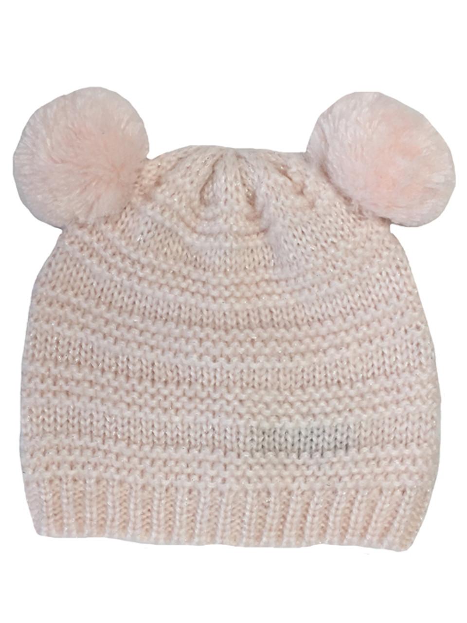 Baby Girl Metallic Pink Pom Pom Hat  1a598accc9e4