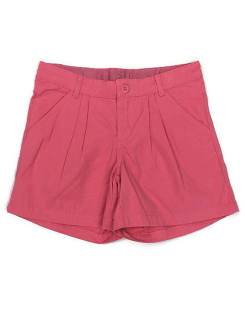 Solid Coral Pleated Shorts, Little Girls