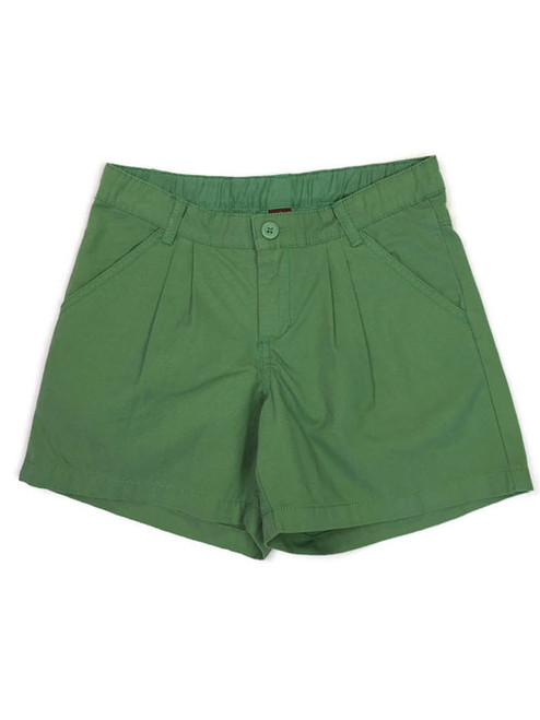 Solid Thyme Pleated Shorts, Little Girls
