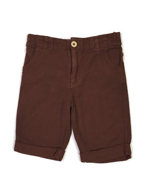 Brown Roll Cuff Linen Shorts, Little Boys