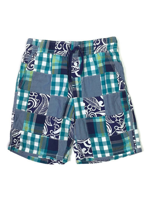 Blue and Green Patchwork Shorts, Little Boys