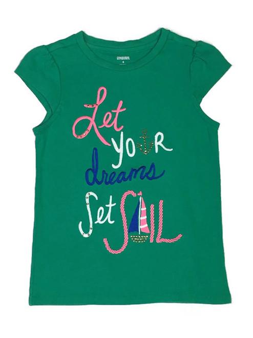 Embroidered Green Shirt, Little Girls