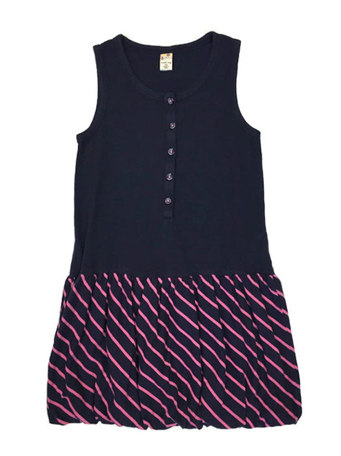 Navy and Pink Striped Tank Dress, Little Girls