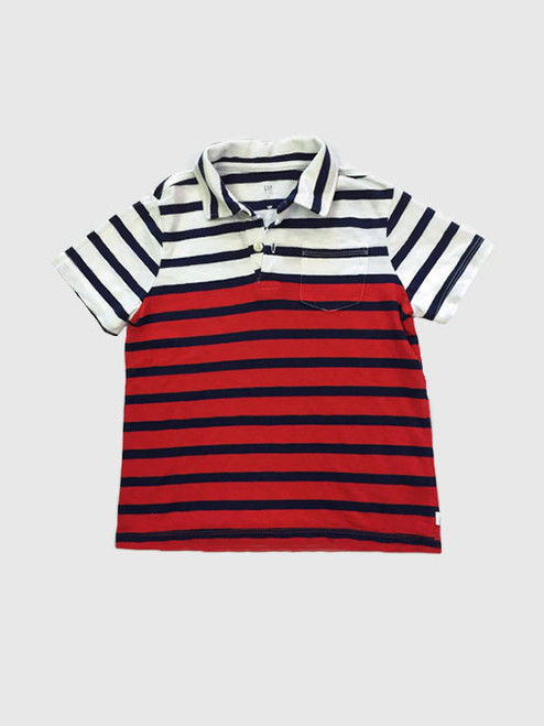 Red Multi Stripe Pocket Polo, Little Boys