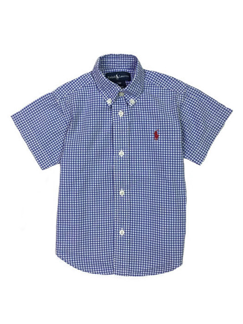 Blue Gingham Button-Down Shirt, Baby Boys