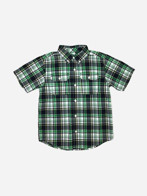 Green and Black Plaid Button-down Shirt, Little Boys