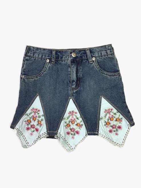 Indigo Flowers Skirt, Toddler Girls
