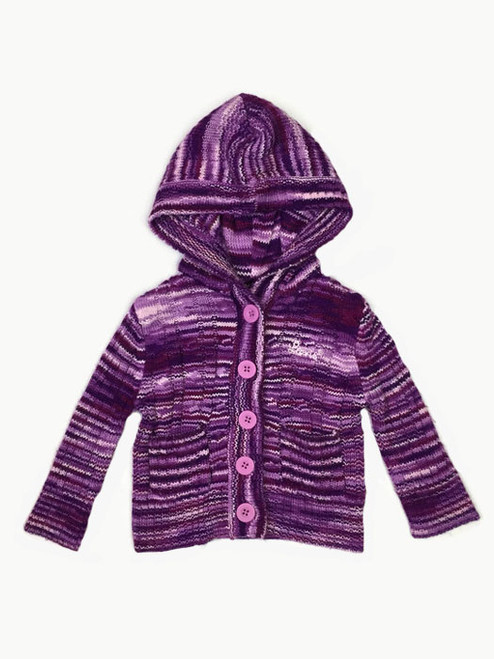 Purple Striped Hooded Sweater, Baby Girls