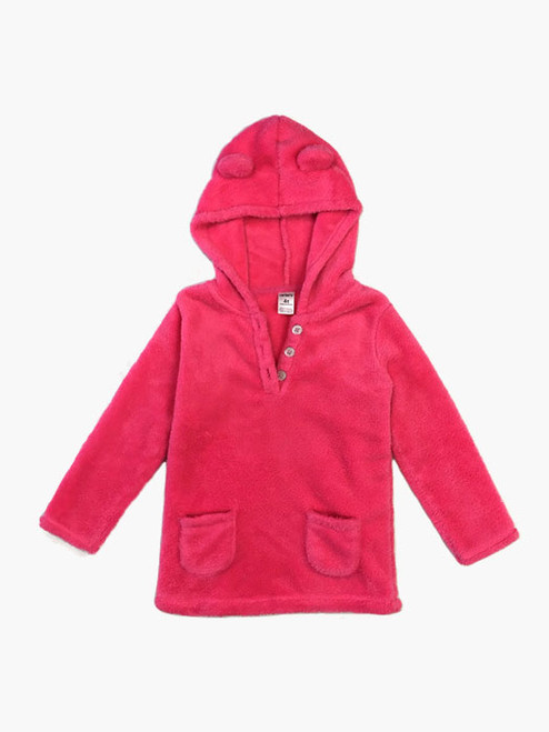 Hot Pink Fleece Hoodie, Toddler Girls