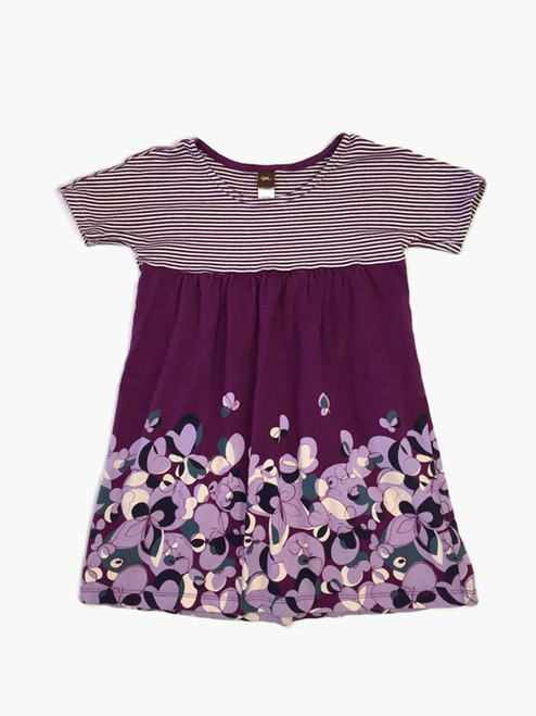Purple Flowers and Stripes Dress, Little Girls