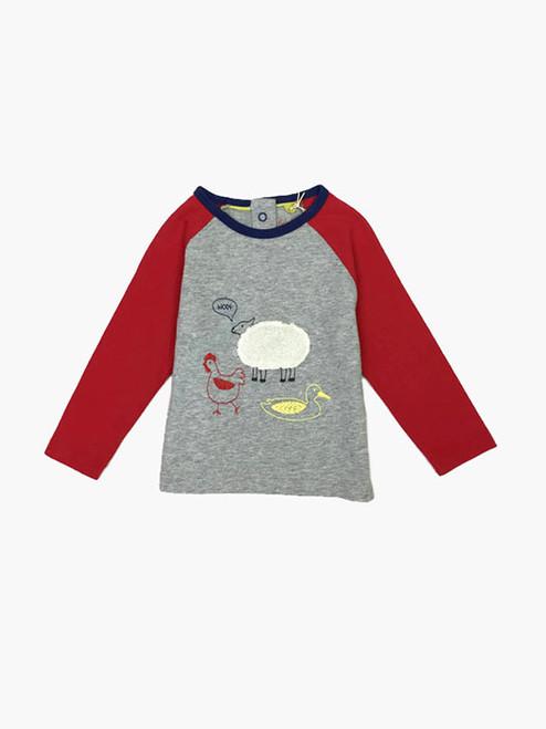 Gray Marl Farmyard T-Shirt, Baby Boys